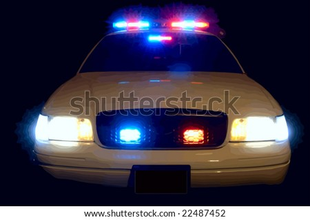 Full array of police car lights. VECTOR.