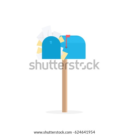 full blue mailbox. cartoon vector illustration