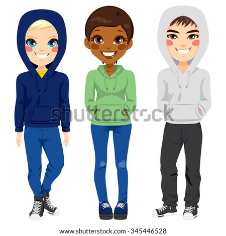 full body illustration of three