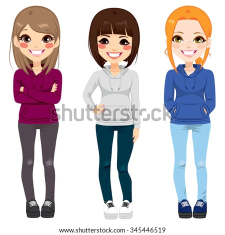 full body illustration of three