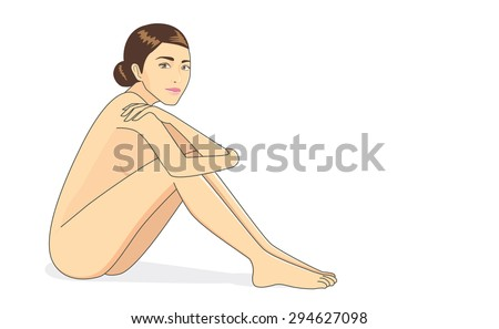 full body naked woman sitting