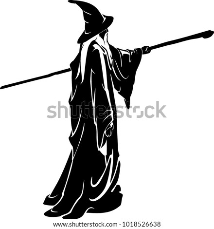 Full Body Wizard Silhouette with Magical Wooden Staff Сток-фото ©