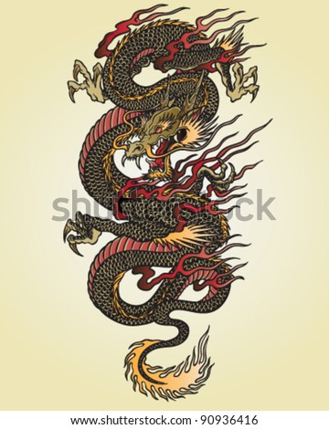 full color asian dragon tattoo