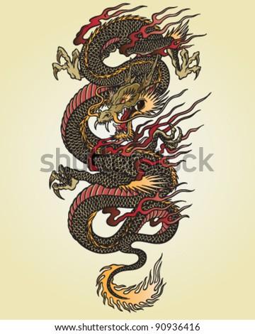 full color asian dragon tattoo