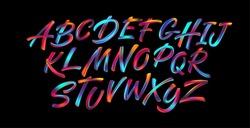 Full color handwriting paint brush lettering latin alphabet letters. Vector illustration EPS10