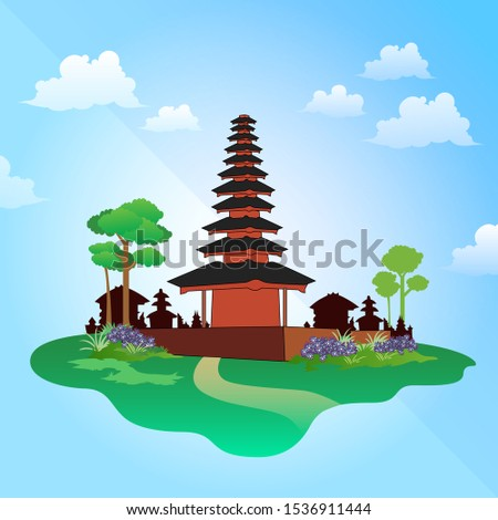 full color vector illustration in detail of a temple building for worshiping Hindus. With details of trees and grass around it on a floating island.