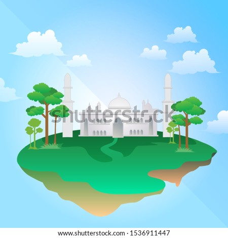 full-color vector illustration in detail of a white mosque. With details of trees and grass around it on a floating island.