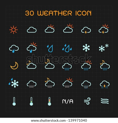 Full color weather icon set vector illustration