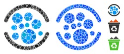 Full composition of small circles in various sizes and shades, based on full icon. Vector filled circles are composed into blue composition. Dotted full icon in usual and blue versions.