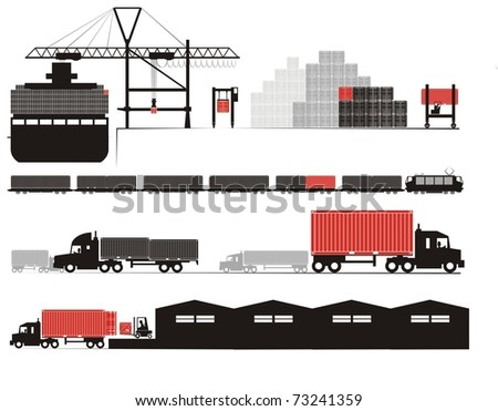 Full container discharge and un-stuffing - Supply chain vector illustration set (Part Three - from full container on board to empty container un-stuffed at the consignee's warehouse)