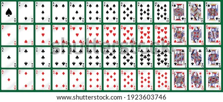 Full deck of cards for playing poker and casino