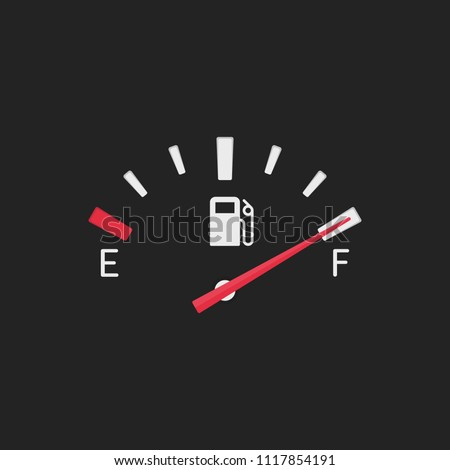 Full fuel gauge icon. Gasoline indicator in flat style. Full tank manometer. Fuel indicator isolated on black background. Vector illustration EPS 10.