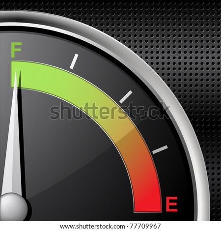 Full fuel gauge on a black metallic background