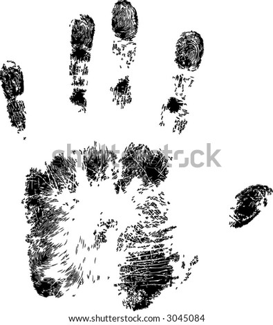 Full Hand Print (Vector) - stock vector