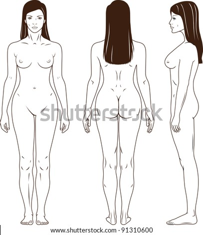 Full length front back side view of a standing naked woman You can use this image for fashion design and etc