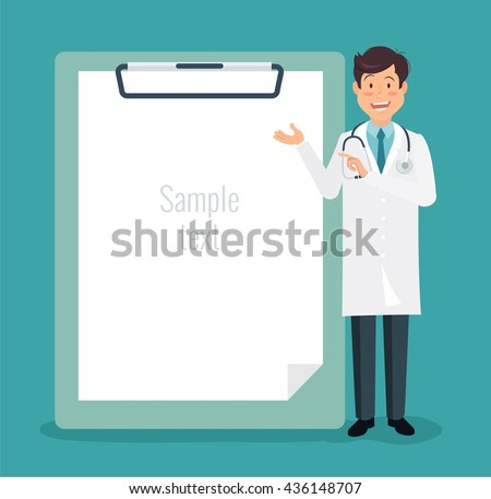 Full length of doctor pointing at empty  medical clipboard. Vector illustration