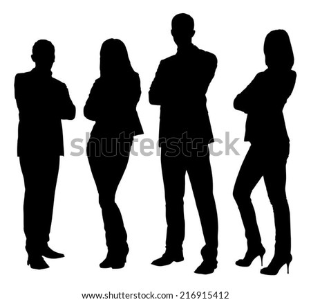 Full length of silhouette business people standing with arms crossed against white background. Vector image #216915412
