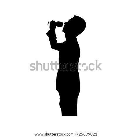 Full length of silhouette businessman with wine glass against white background. Vector image