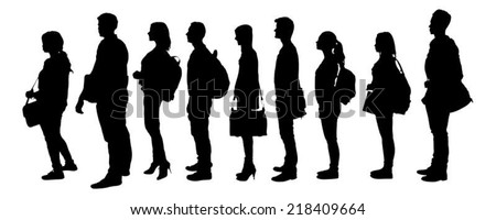 Full length of silhouette college students standing in line against white background. Vector image #218409664