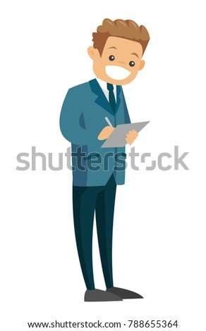 Full length of young caucasian white businessman in formal suit holding clipboard and signing documents. Vector cartoon illustration isolated on white background.