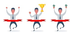 Full length portrait of a businessman running at the finish line. Happy man crosses finish line with trophy . Vector set collection flat design illustration.