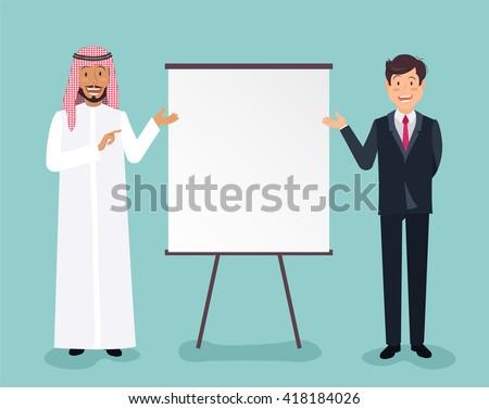 Full length portrait of a handsome arabic and european businessmen making presentation on flipchart over blue background. Vector flat illustration of business plan.