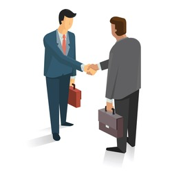 Full length portrait of two businessman shaking hands in making a deal or an agreement.