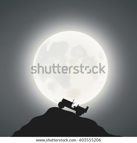 full moon and a jeep