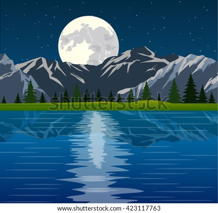 full moon and group of pine