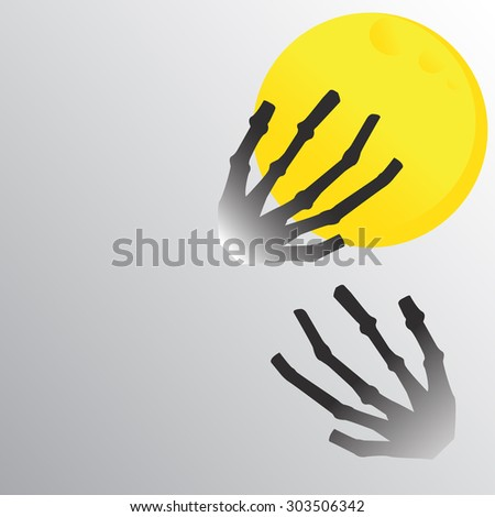 full moon and hand bone