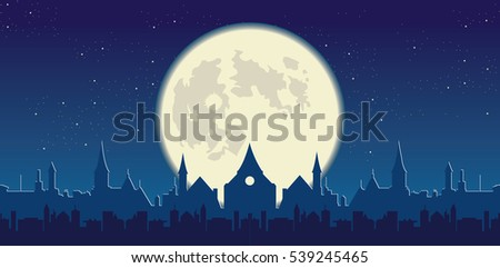 full moon and starry sky  city