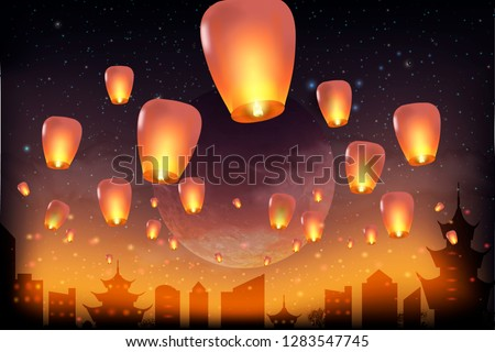 Full moon background for traditional of Chinese Mid Autumn Festival or Lantern Festival - Vector. Chinese lanterns in the night sky.