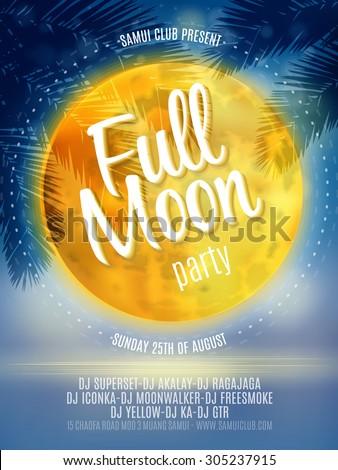 full moon beach party flyer