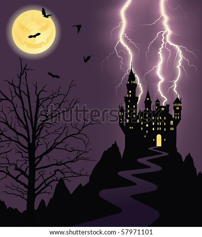 Full moon, flying bats and silhouette of a castle on a mountain.