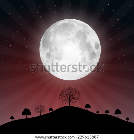 full moon illustration with