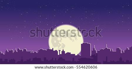 Full moon  in night sky over city silhouette vector cityscape illustration
