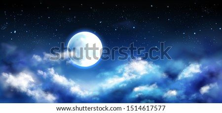Full moon in night sky with stars and clouds. Starry heaven with moonlight romantic fantasy landscape, natural cloudscape scene background, midnight time, space view. Realistic 3d vector illustration