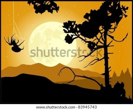 Full Moon Night landscape background
