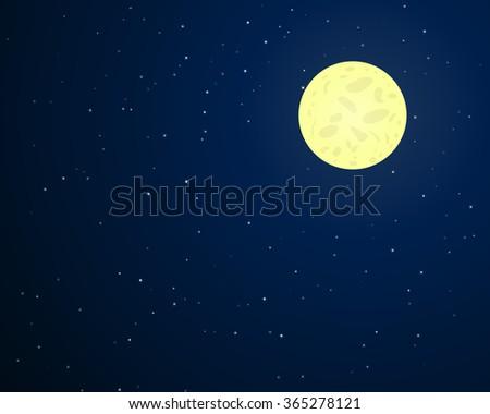 full moon on dark blue sky with