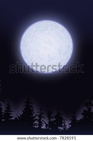 Full moon over trees (other landscapes are in my gallery)