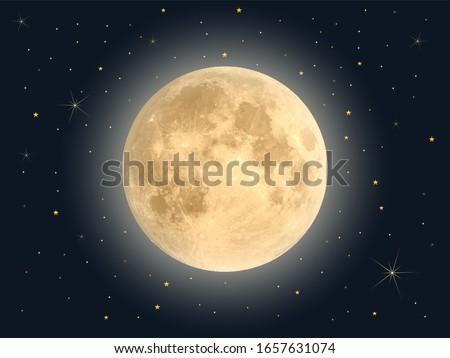 Full moon with star , Vector Сток-фото ©