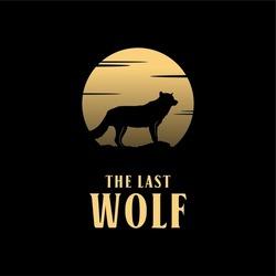 Full Moon Wolf Silhouette Logo