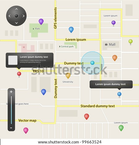 Full navigation set of vector elements in different colors