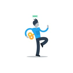 Full of energy, agile man, energetic good mood, positive mindset, healthy lifestyle vector illustration