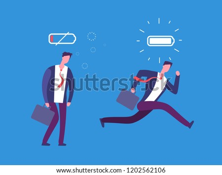 Full of energy and tired businessman. Powerful and flat person with full charge and uncharged battery. Business vector concept. Business man low charge energy, tired male illustration