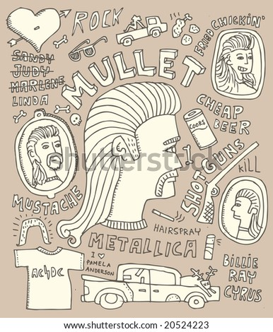 Full page of crazy Mullet-theme doodles.