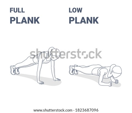 Full Plank and Elbow Plank Home Workout Exercises Girl Silhouette Illustration. Concept of Female Working at Home on Her Abs, a Young Woman in Sportswear Top, Sneakers, Leggings Doing Plank Variations