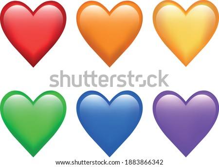 full rainbow of love emoji set