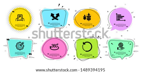 Full rotation, Horizontal chart and Recovery data line icons set. Chat bubbles with quotes. Gluten free, Receive file and Safe planet signs. Settings gear, Intersection arrows symbols. Vector