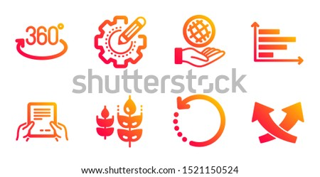 Full rotation, Horizontal chart and Recovery data line icons set. Gluten free, Receive file and Safe planet signs. Settings gear, Intersection arrows symbols. 360 degree, Presentation graph. Vector